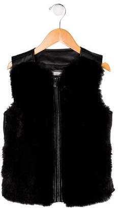 Vince Girls' Faux Fur Zip-Up Vest