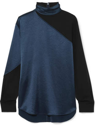 Cédric Charlier Paneled Two-tone Satin And Crepe Turtleneck Top - Navy