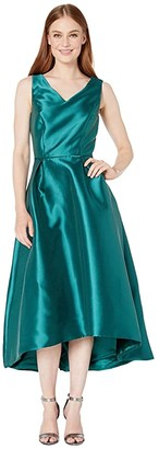 Tahari ASL Solid Mikado V-Neck Midi Dress