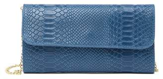 Isabella Collection Rhea Snake-Embossed Leather Clutch Bag