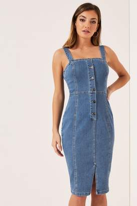 Lipsy Button Through Denim Bodycon Dress - 8 - Blue