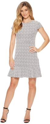 MICHAEL Michael Kors Jacquard Knit Short Sleeve Flounce Dress Women's Dress