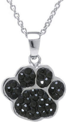 SPARKLE ALLURE Black Crystal Silver-Plated Paw Pendant Necklace