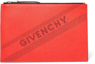 Givenchy Perforated Leather Pouch - Red