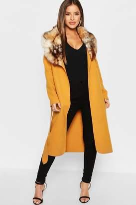 boohoo Petite Faux Fur Collar Belted Coat