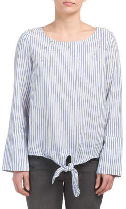 Tie Front Exaggerated Cuff Shirt