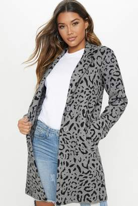 Next Womens PrettyLittleThing Leopard Knitted Coatigan