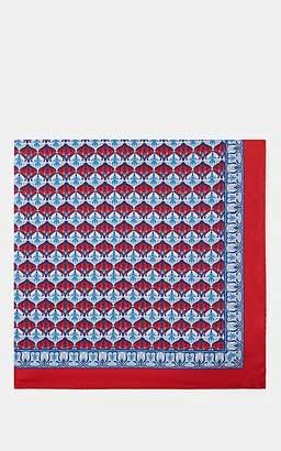 Barneys New York Men's Floral-Medallion-Print Silk Twill Pocket Square - Red