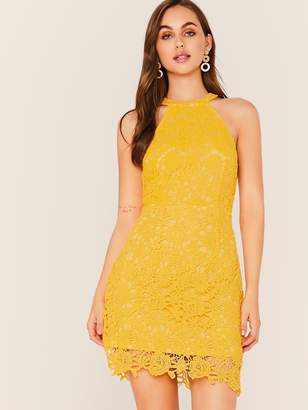 Shein Halterneck Guipure Lace Overlay Dress