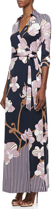 Diane von Furstenberg Abigail Orchid-Print Three-Quarter Sleeve Maxi Wrap Dress