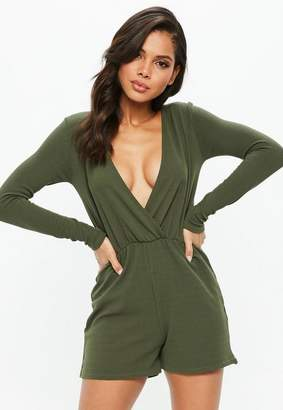 Missguided Crepe Wrap Front Playsuit