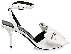 Balenciaga Women's Square Knife Bow Leather Sandals