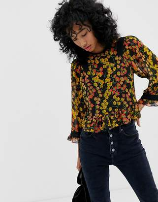 Whistles Fifi daisy print fluted sleeve top