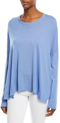 Michael Kors Crewneck Long-Sleeve Draped Cashmere Pullover Sweater