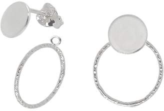 Lucy Ashton Jewellery - Large Disc and Circle Stud Earrings Ear Jacket Sterling Silver