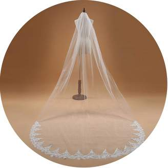 COOL-JULY Wedding Bridal Veil Mariage 3M One Layer Lace Edge Ivory Cathedral Wedding Veil Long Bridal Veil Wedding Accessorie TS14