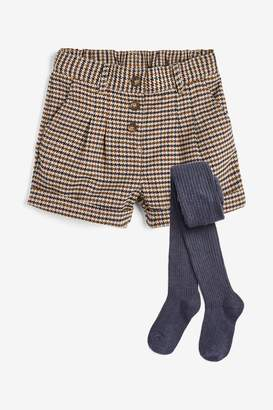 Next Girls Neutral Houndstooth Shorts With Tights (3-16yrs) - Brown