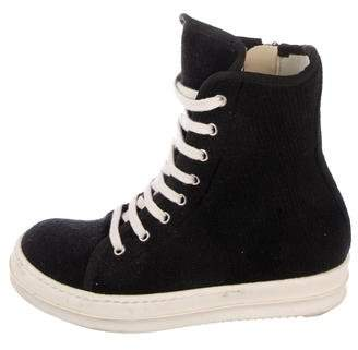 Rick Owens Knit High-Top Sneakers