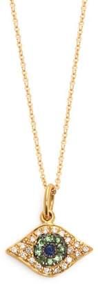 Ileana Makri Kitten Eye Diamond, Tsavorite & Sapphire Necklace - Womens - Gold