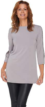 Susan Graver Liquid Knit Embellished Split Sleeve Tunic