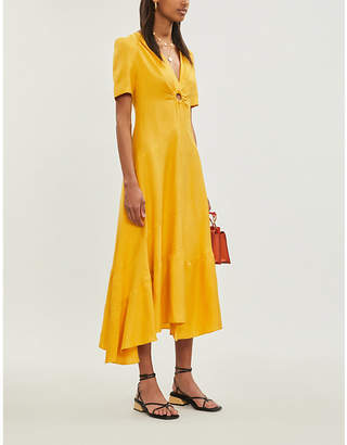 Sandro Cutout asymmetric-hem cotton-linen blend dress