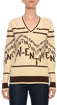 Valentino V-Neck Chevron-Logo Wool-Cashmere Sweater