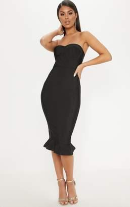 PrettyLittleThing Black Frill Hem Bandage Midi Dress
