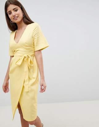 Asos Design DESIGN linen midi pencil dress with kimono sleeve