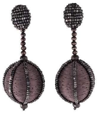 Oscar de la Renta Crystal Embellished Ball Drop Earrings