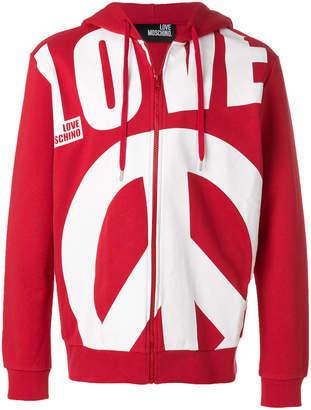 Love Moschino oversized slogan zipped front hoodie