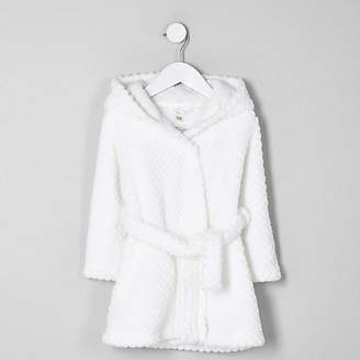 River Island Mini girls Cream RI fluffy dressing gown