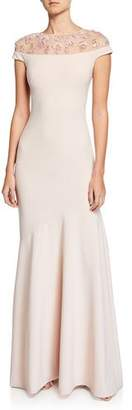 Theia Off-the-Shoulder Illusion Cap-Sleeve Crepe Gown w/ Embellished Yoke