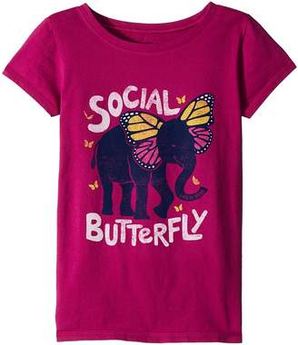 Life is Good Social Butterfly Crusher Tee Girl's T Shirt