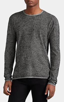 John Varvatos Men's Houndstooth Jacquard Crewneck Sweater - Black