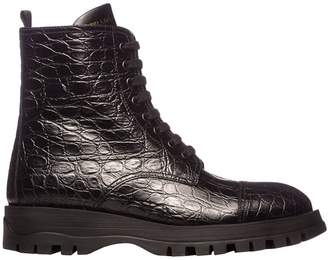Prada Boots Lace-up Ankle Boots In Croc Print Leather With Zip And Logo
