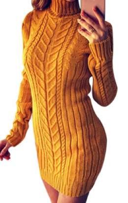 ZXFHZS-CA Womens Knit Slim Fit Winter Turtleneck Long Sleeve Bodycon Sweater Dress XS