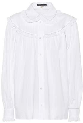 ALEXACHUNG Ruffle-trimmed cotton shirt