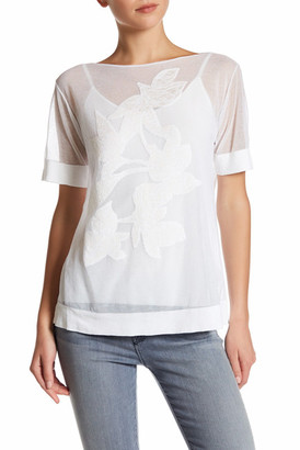 Lafayette 148 New York Embroidery Front Sheer Tee $448 thestylecure.com