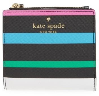 Kate SpadeWomen's Kate Spade New York Harding Street - Fiesta Stripe Adalyn Faux Leather Wallet - Black