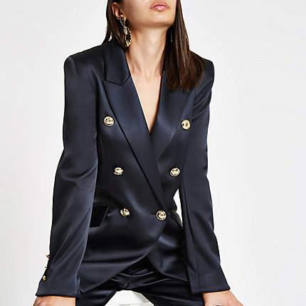 Womens Navy satin double breasted tux jacket