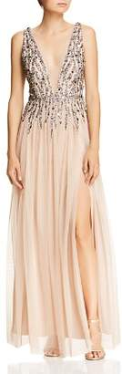 Aidan Mattox Beaded Mesh Plunging Gown
