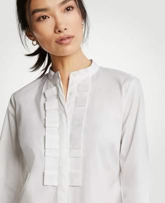 Ann Taylor Pleated Ruffle Perfect Shirt