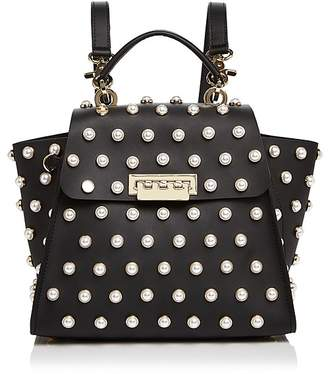 ZAC Zac Posen Eartha Iconic Faux-Pearl Convertible Leather Backpack $550 thestylecure.com