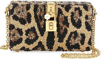 Dolce & Gabbana Dolce Leopard-Print Crystal Beaded Box Clutch Bag