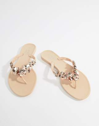 Lipsy Jelly Flat Sandal With Embellished Floral Detail