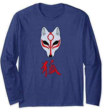Kitsune Japanese Fox Spirit Mask Long Sleeve Kanji T-Shirt