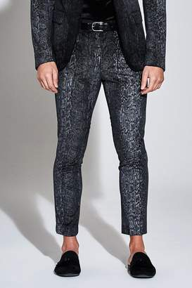 boohoo Premium Skinny Snakeskin Velour Cropped Trouser