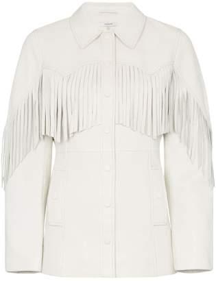 Ganni white Angela fringed leather jacket