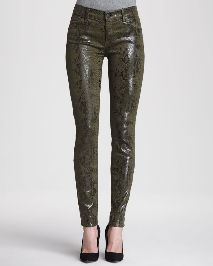7 For All Mankind Exclusive Skinny High Gloss, Olive