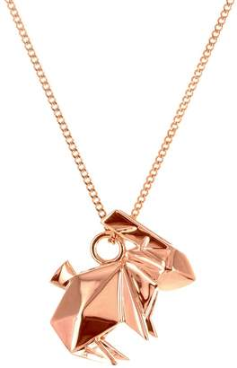 Origami Jewellery Mini Rabbit Necklace Rose Gold